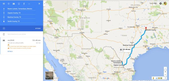 Francisca Garza MX to TX map